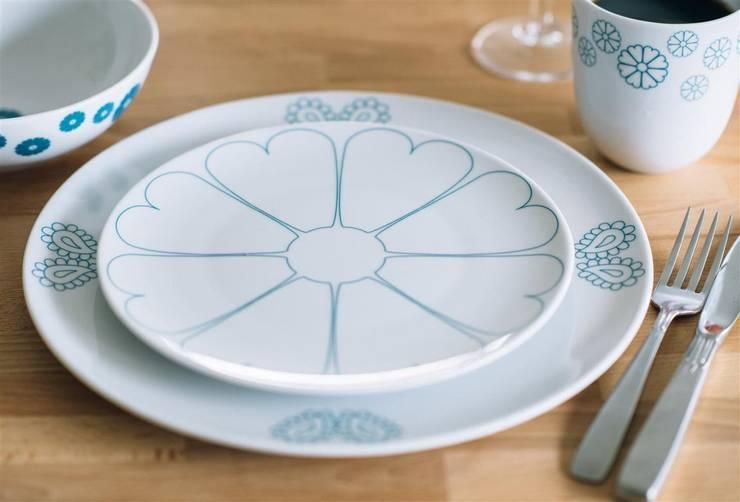 Porcelanowy zestaw z kolekcji Makatka Turkus marki Zulana: styl , w kategorii Jadalnia zaprojektowany przez Zulana,