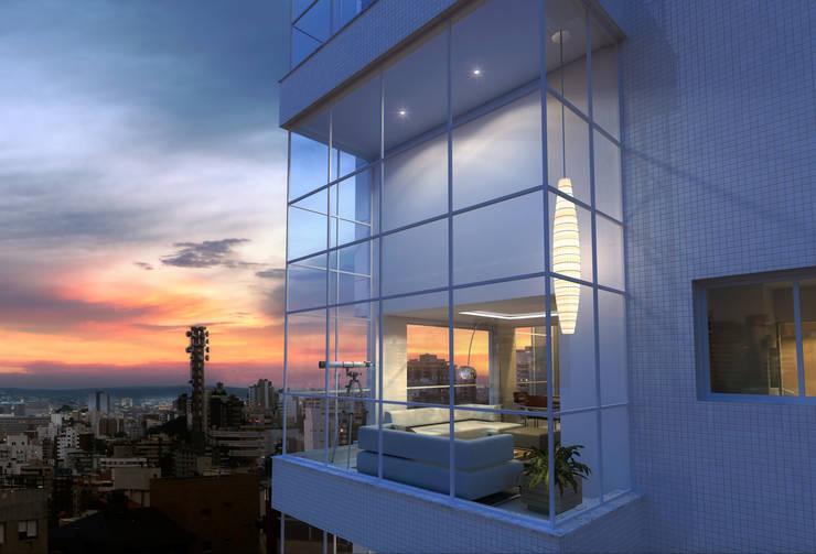 Estar na fachada: Salas de estar  por André Petracco Arquitetura