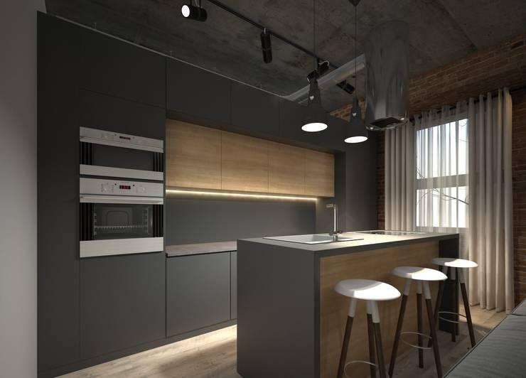 Квартира-студия для холостяка: Кухни в . Автор – Elena Arsentyeva,