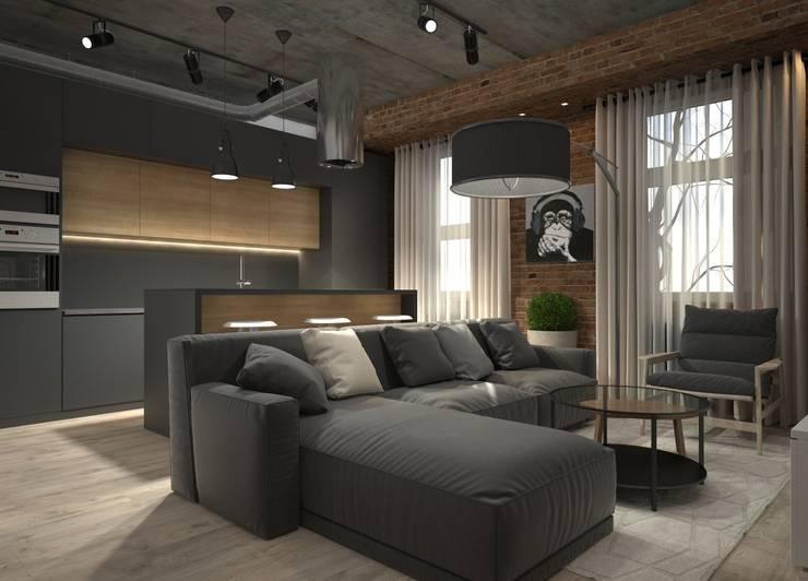 Квартира-студия для холостяка: Гостиная в . Автор – Elena Arsentyeva,