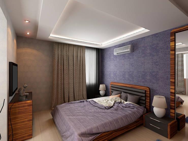 Квартира  71м2.  в г.Балашиха, для молодой семьи, мамы, папы и дочери.: Спальни в . Автор – Ольга Зелинская