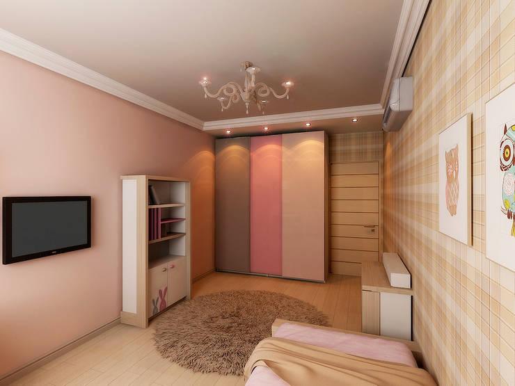 Квартира  71м2.  в г.Балашиха, для молодой семьи, мамы, папы и дочери.: Детские комнаты в . Автор – Ольга Зелинская