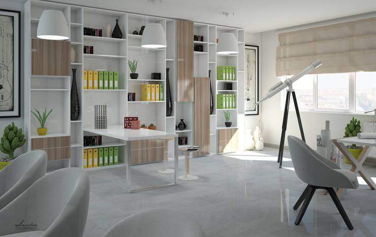 Particolare render parete attrezzata: Studio in stile  di Santoro Design Render