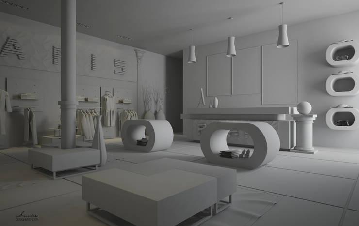 Render calcolo illuminotecnico: Negozi & Locali Commerciali in stile  di Santoro Design Render