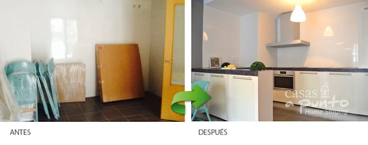 Cocina de cartón , para mostrar los espacios más atractivos. :  de estilo  de Casas a Punto home staging