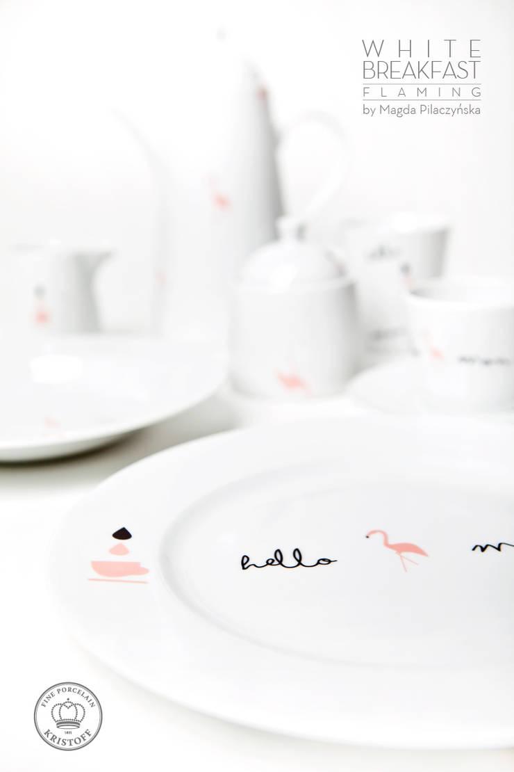 Kolekcja White Breakfast_projektantka_Magda Pilaczyńska: styl , w kategorii Jadalnia zaprojektowany przez Porcelana Kristoff