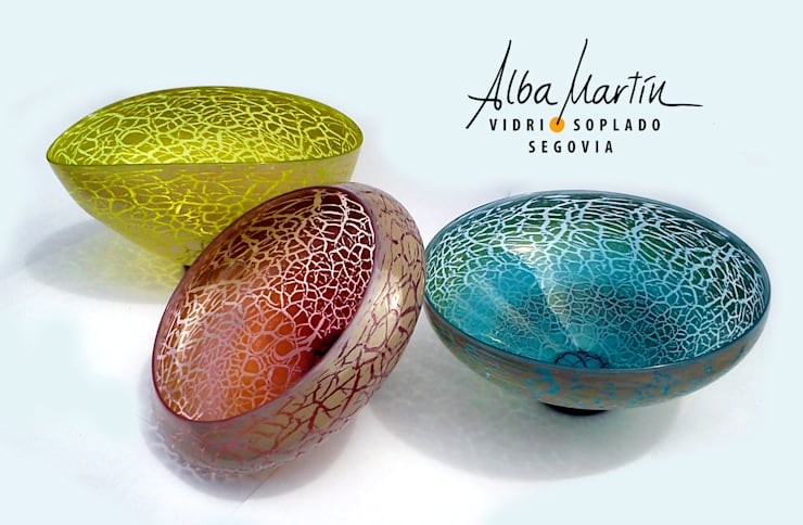 """Boles"" vidrio soplado, crackelado: Arte de estilo  de Alba Martín Vidrio Soplado"
