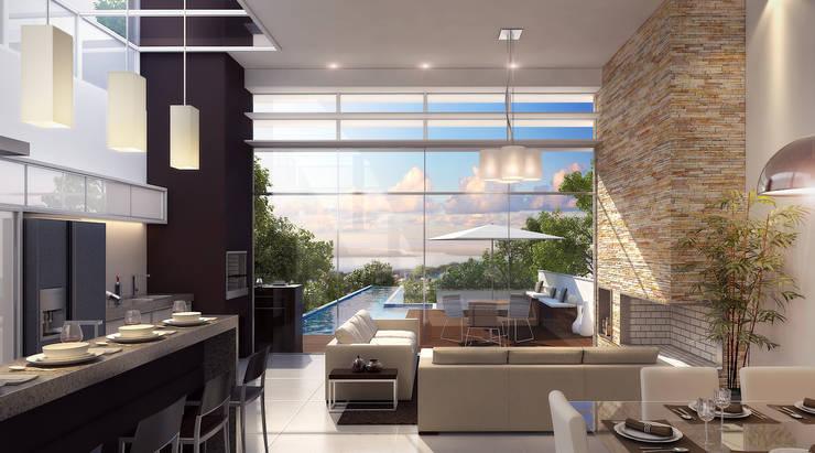 Vista panorâmica estar: Salas de estar  por Biehl Arquitetura
