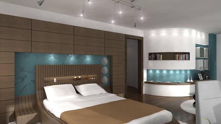 Latis Mimarlık ve İnşaat – Yatak Odası Dekorasyon:  tarz İç Dekorasyon