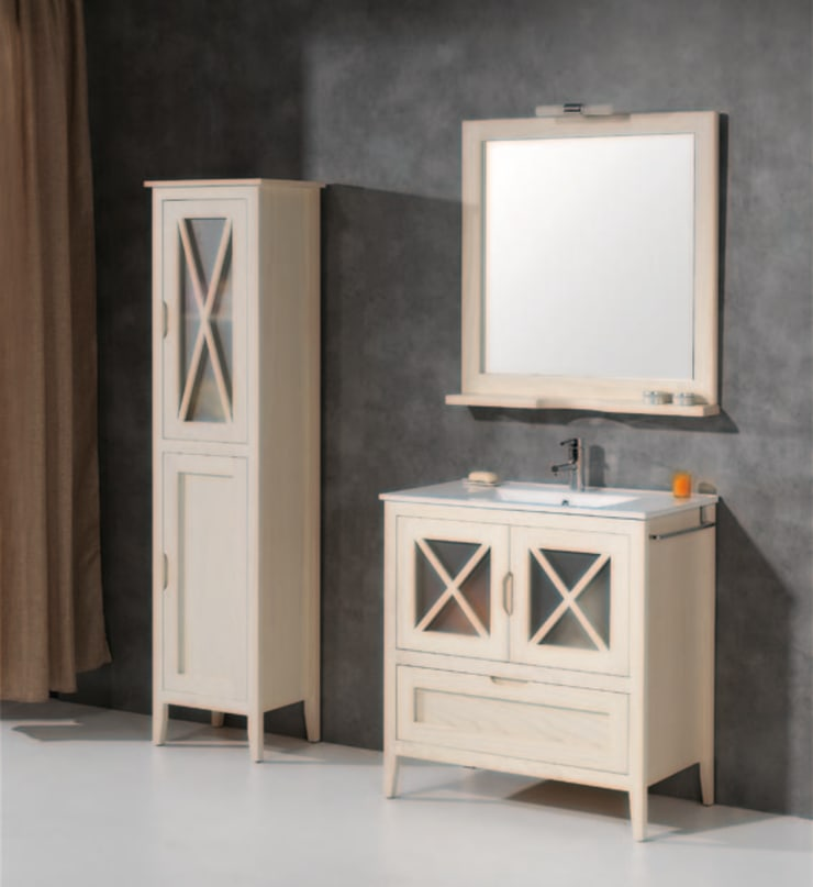 Mueble de baño Avila de 70 Hueso con auxiliar a juego: Baños de estilo  de Bañoweb