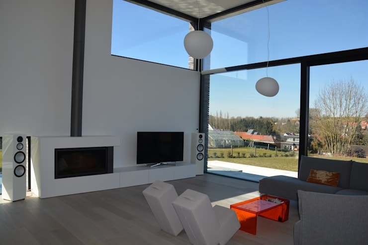 woning te Neerijse:  Woonkamer door hasa architecten bvba, Modern