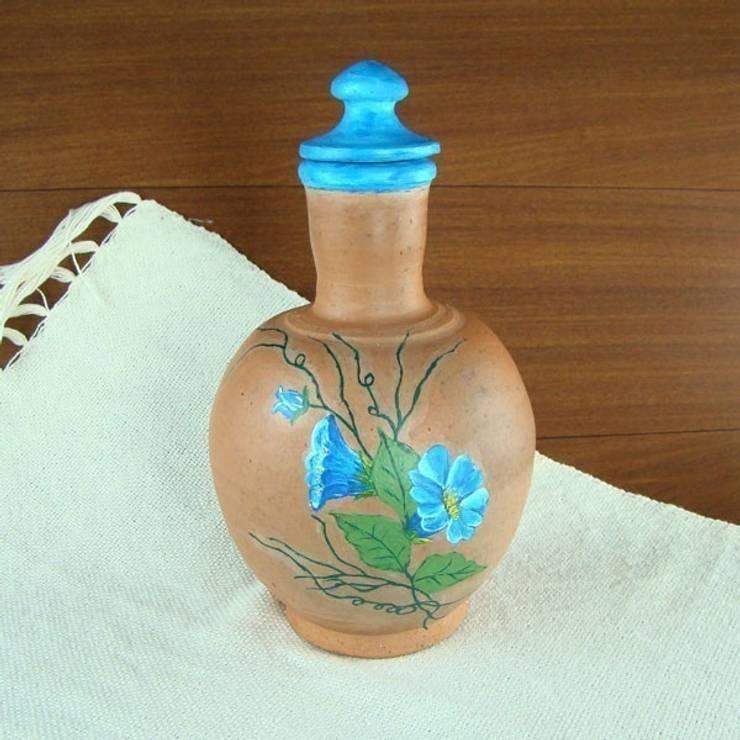 Moringa em Cerâmica Flores Azuis Pintadas à Mão - 1 L por Vida Rústica Artesanato e Decoração Rústico