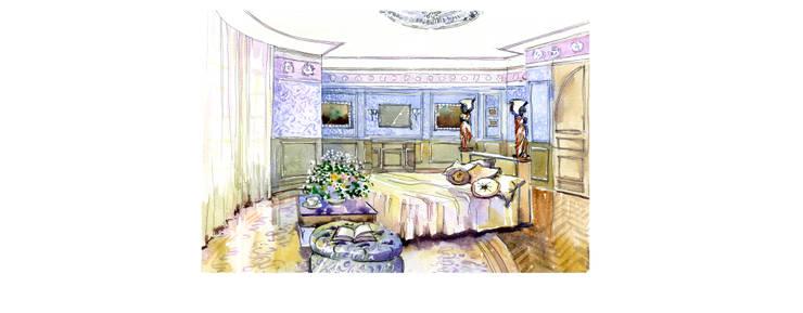 Эскиз интерьера спальни:  в . Автор – DAR-studio