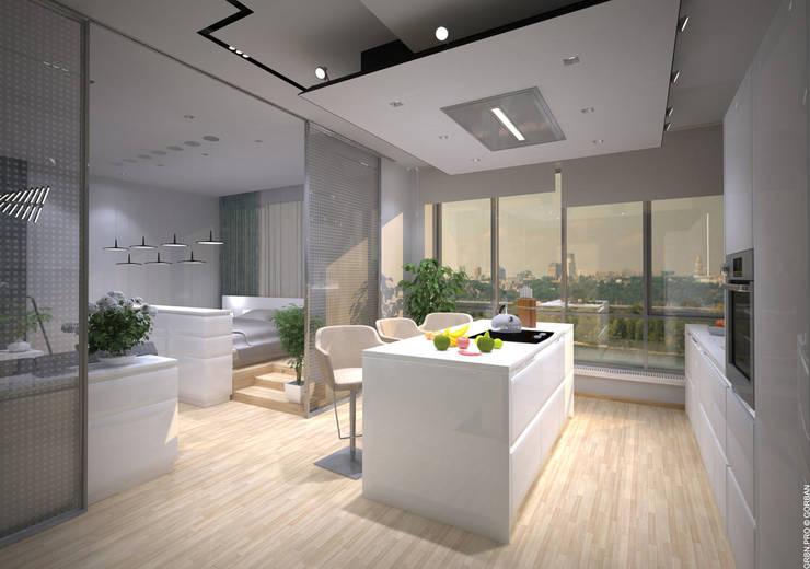 Интерьер однокомнатной квартиры в жилом комплексе <q>RiverStone</q>: Кухни в . Автор – Архитектурная студия 'Горбань'.