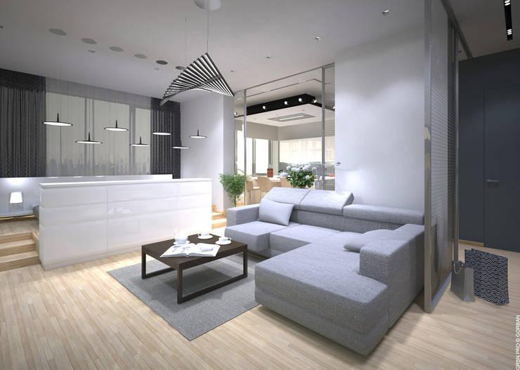 Интерьер однокомнатной квартиры в жилом комплексе <q>RiverStone</q>: Гостиная в . Автор – Архитектурная студия 'Горбань'.