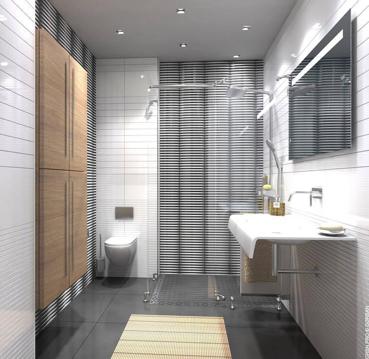 Интерьер однокомнатной квартиры в жилом комплексе <q>RiverStone</q>: Ванные комнаты в . Автор – Архитектурная студия 'Горбань'.