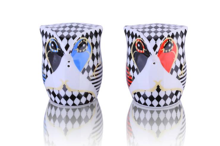 Solniczka i pieprzniczka Sówki: styl , w kategorii Kuchnia zaprojektowany przez Silly Design - prezentowa porcelana,