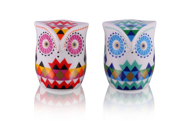 Solniczka i pieprzniczka Sówki: styl , w kategorii Kuchnia zaprojektowany przez Silly Design - prezentowa porcelana