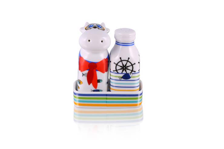 Solniczka i pieprzniczka Krowa i Mleko : styl , w kategorii Kuchnia zaprojektowany przez Silly Design - prezentowa porcelana,