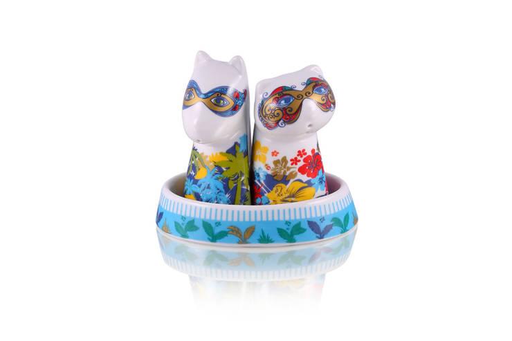Solniczka i pieprzniczka Kot i Pies: styl , w kategorii Kuchnia zaprojektowany przez Silly Design - prezentowa porcelana