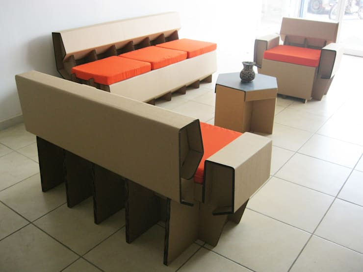 Sala de cartón: Salas de estilo  por Modulec