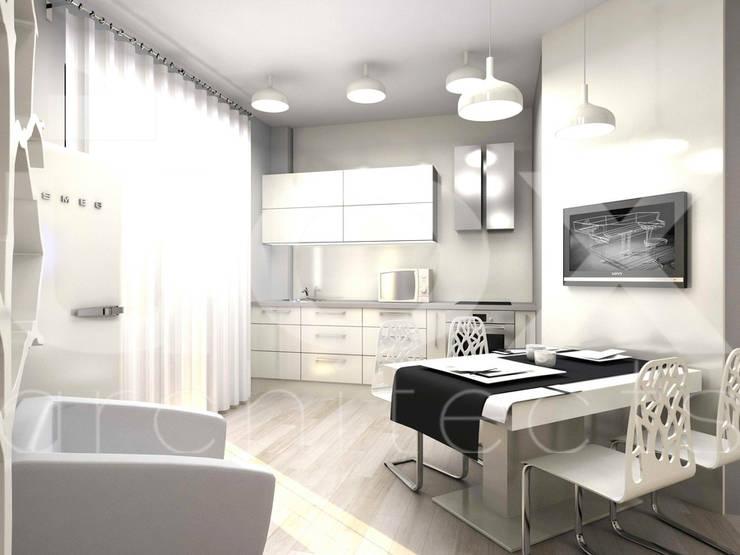 """Квартира """"TOTAL WHITE"""": Кухни в . Автор – ЙОХ architects,"""