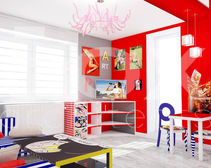 Квартира <q>POPart&cocaCOla</q>: Гостиная в . Автор – ЙОХ architects, Эклектичный