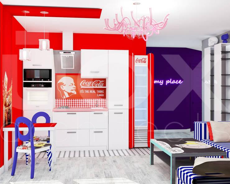 Квартира <q>POPart&cocaCOla</q>: Кухни в . Автор – ЙОХ architects, Эклектичный
