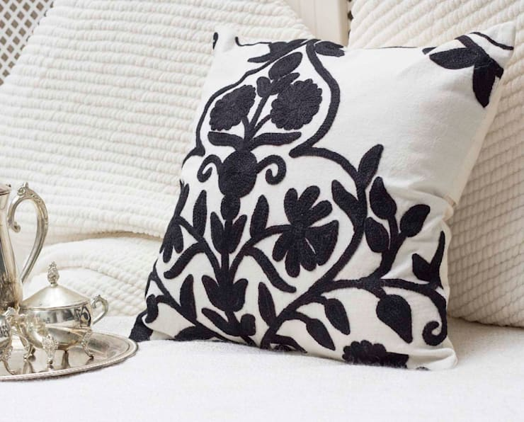 Crewel Embroidered Decorative Pillow Floral:  Living room by DesignRaaga