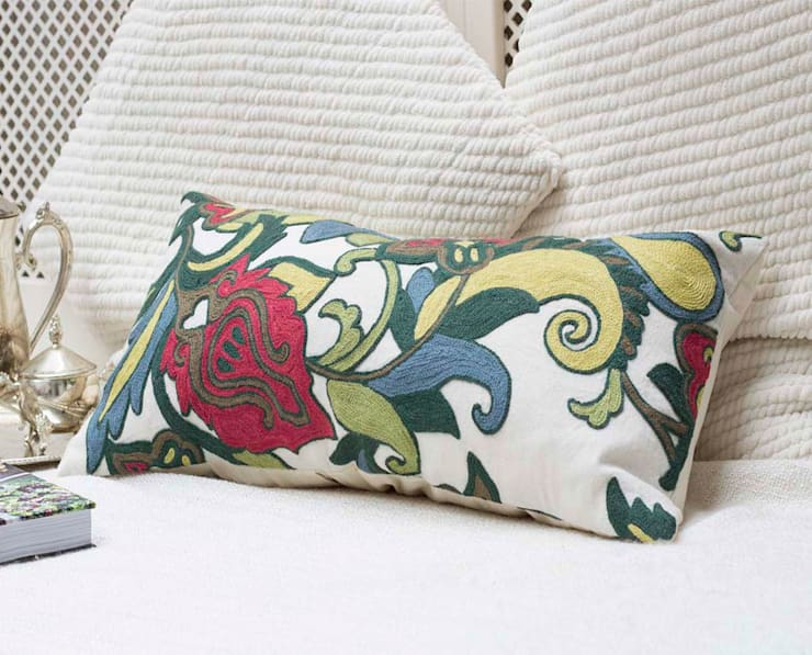 Wool Embroidered Decorative Pillow Floral:  Living room by DesignRaaga