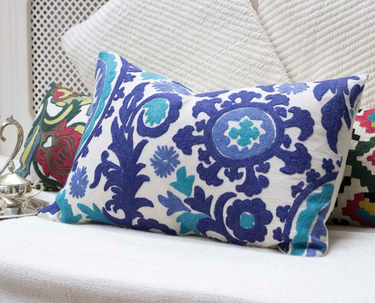 Crewel Embroidered Decorative Pillow Blue:  Living room by DesignRaaga