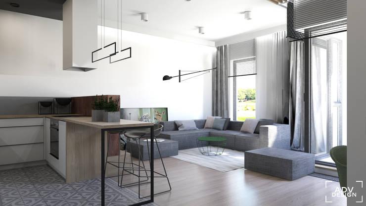54 m2: styl , w kategorii Salon zaprojektowany przez ADV Design
