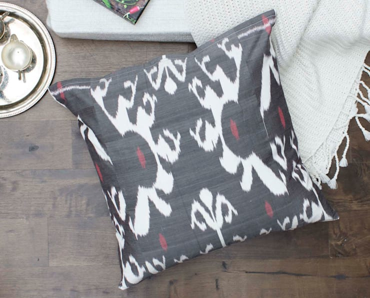 Ikat Large Floor Pillow Grey:  Living room by DesignRaaga