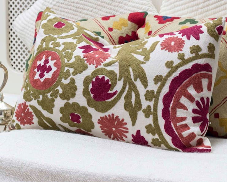 Crewel Embroidered Decorative Pillow Olive:  Living room by DesignRaaga
