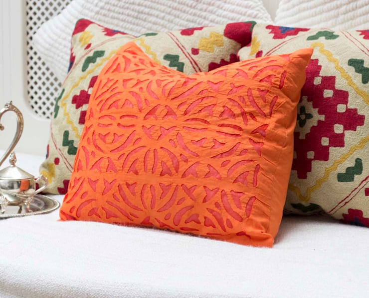 Orange Applique Cotton Pillow :  Living room by DesignRaaga