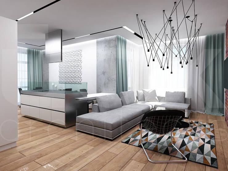 Квартира «Стихия бетона» : Гостиная в . Автор – ЙОХ architects