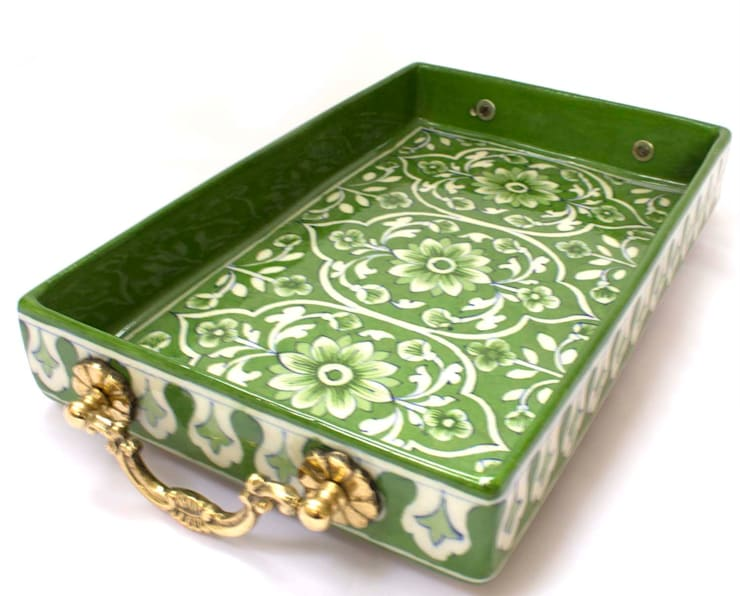 Indian Hand Painted Tray Green:  Kitchen by DesignRaaga