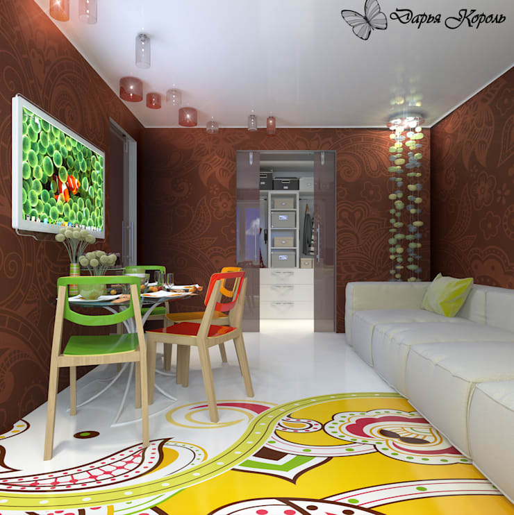Apartment in paisley. Kitchen, living room, hallway: Гостиная в . Автор – Your royal design