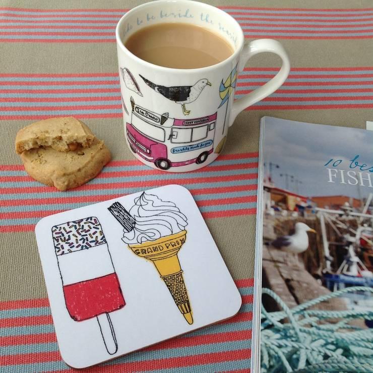 Seaside Fun Mug & Coaster set:  Kitchen by New House Textiles Ltd
