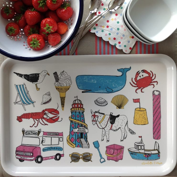 Seaside Fun Large Tray: modern Kitchen by New House Textiles Ltd