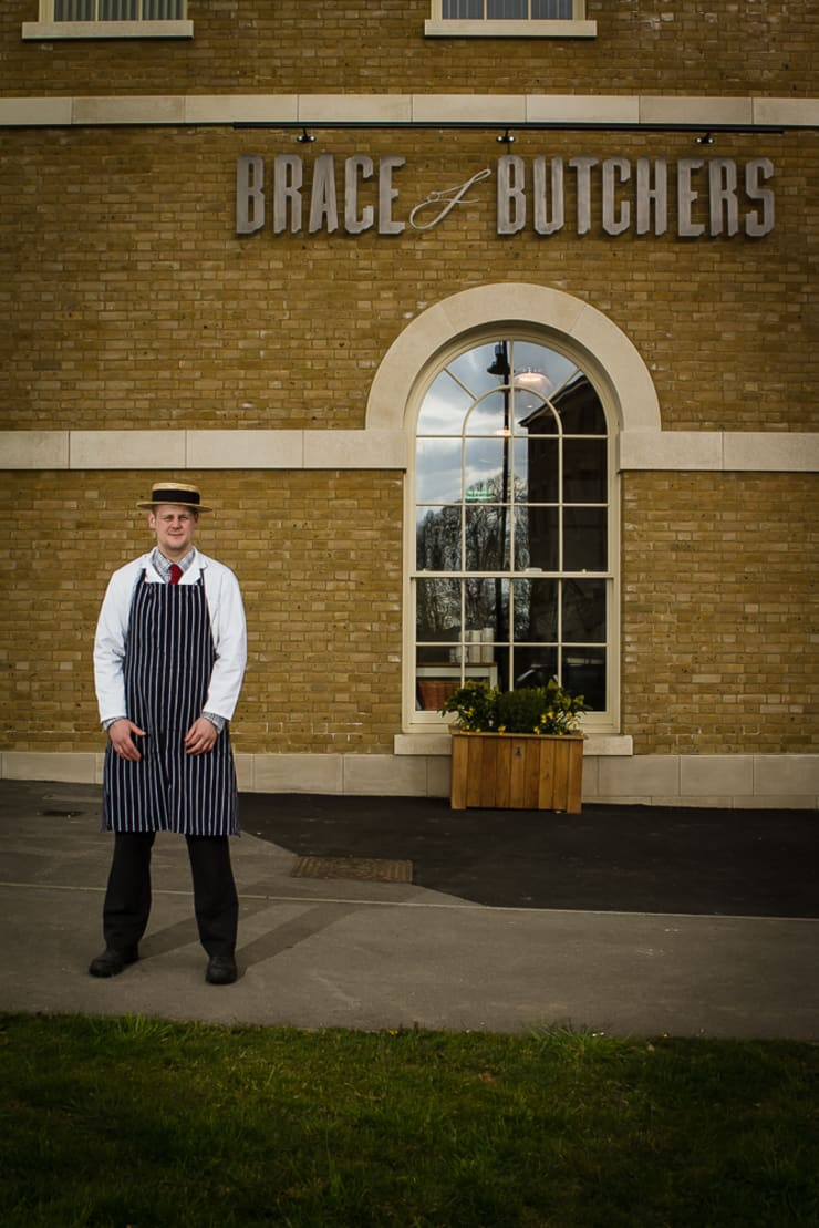 Brace of Butchers—Planters installation.:  Office spaces & stores  by The Dorset Planter Co.