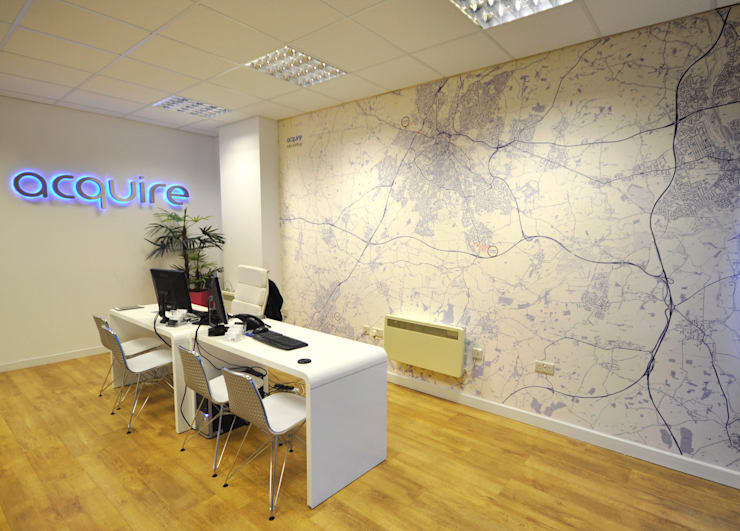 Custom Made Map Wallpaper for Estate Agents:  Office buildings by Wallpapered