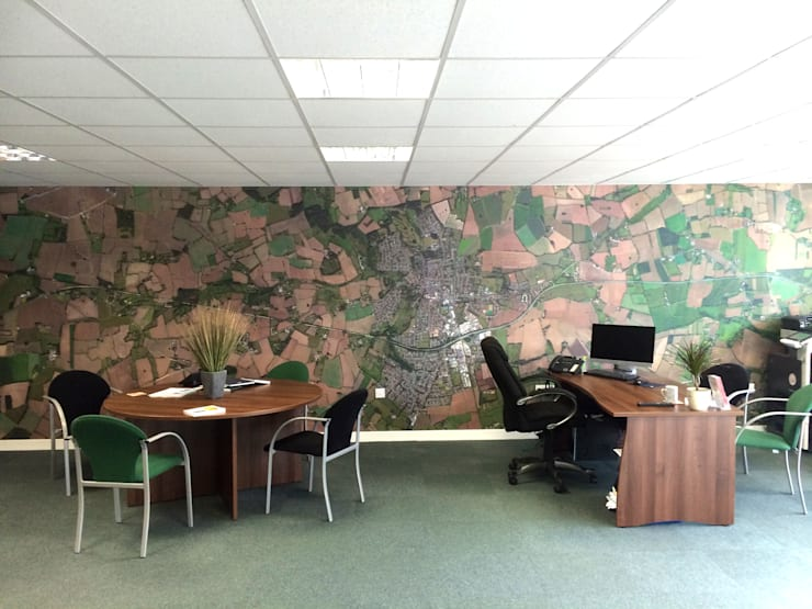 Bespoke Satellite Aerial Map wallpaper for the office:  Study/office by Wallpapered