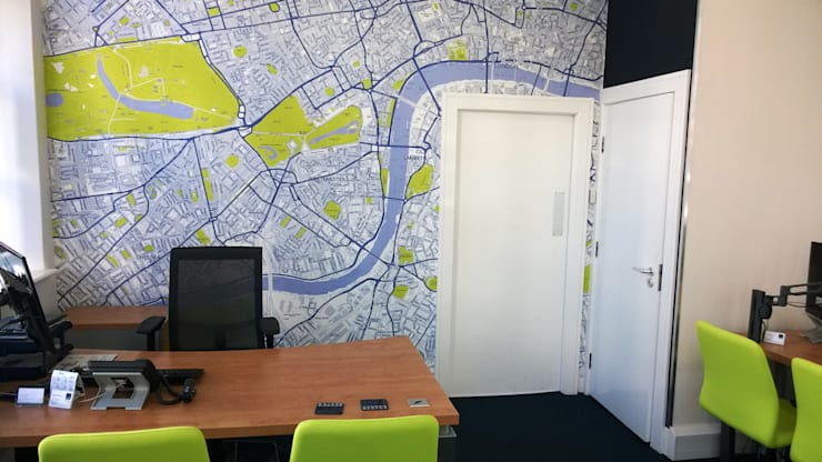 Customised Map of London Wallpaper:  Study/office by Wallpapered