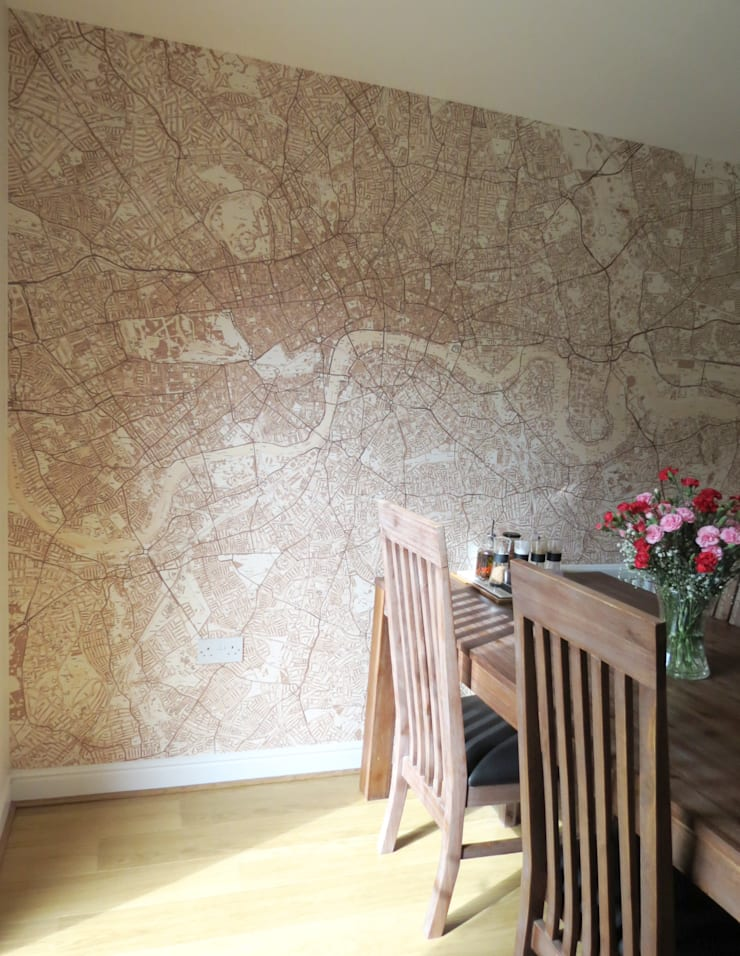 Custom Printed Sepia Street Map of London Wallpaper:  Dining room by Wallpapered