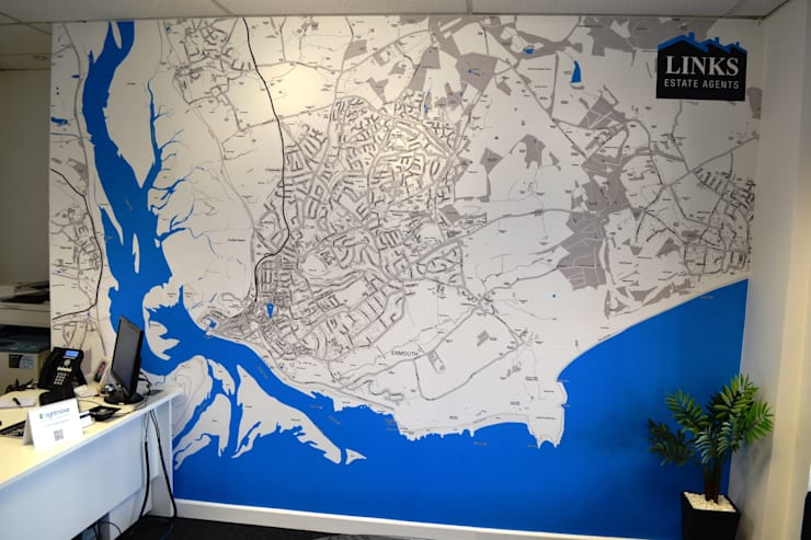Custom Designed Map Wallpaper for the office:  Office buildings by Wallpapered