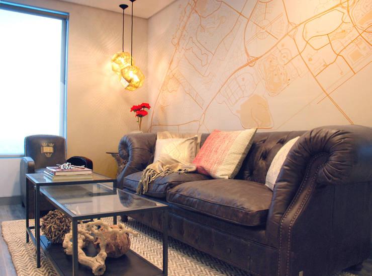 Bespoke Dubai Map  Wallpaper:  Living room by Wallpapered