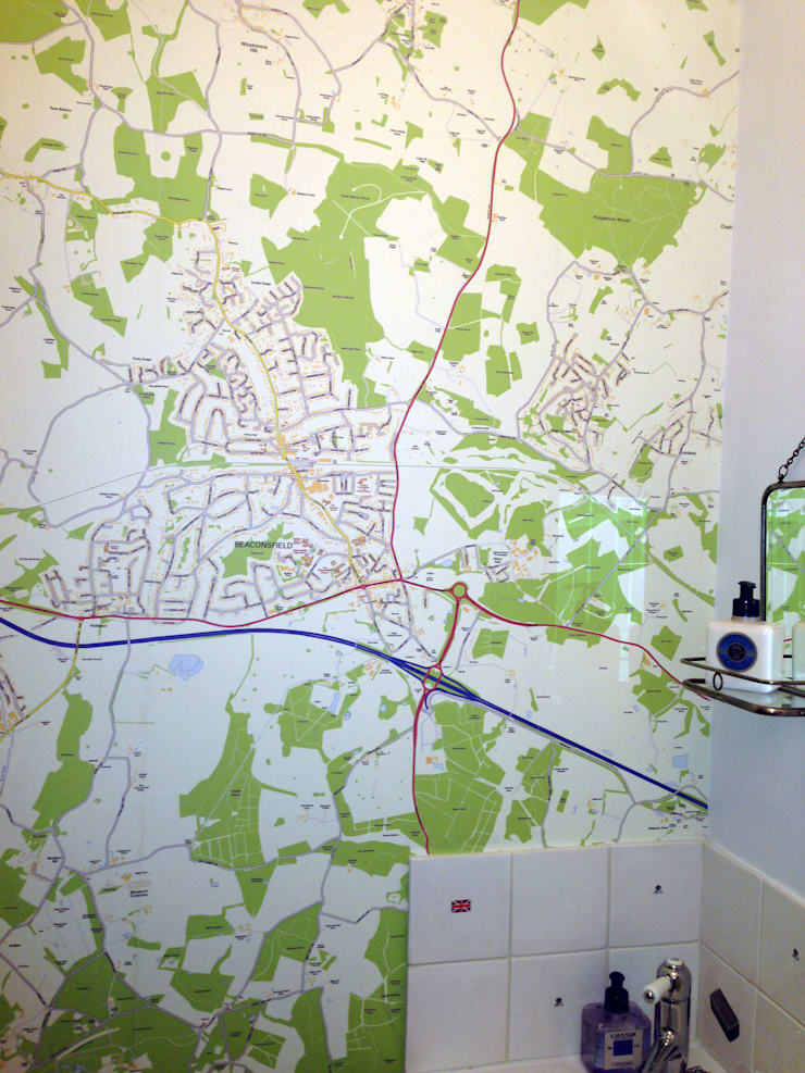Custom Map Wallpaper installed in the bathroom:  Bathroom by Wallpapered