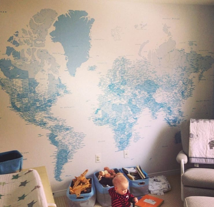 Blue World Map:  Walls & flooring by Wallpapered