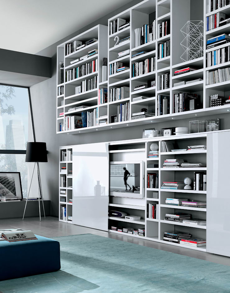 Wall hung TV unit and bookcase. Also with a glass sliding door to lower unit:  Living room by Lamco Design LTD
